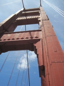 The north tower of the art deco Golden Gate Bridge, a classic example of a combination of art and engineering.